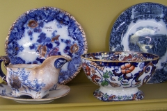 Antique flow blue and transferware gravy boat and bowl