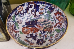 Antique flow blue compote bowl