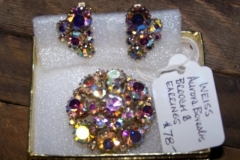 Weiss Rhinestone Earring an Brouch Set