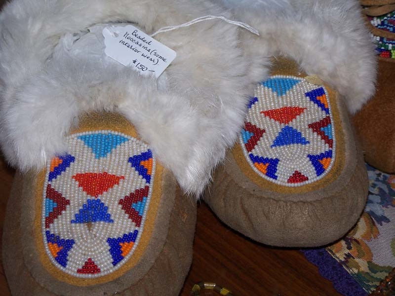 Beaded Moccasins with Rabbit Fur Trim