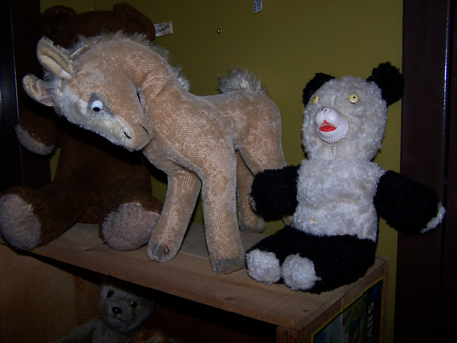 Antique stuffed horse and bear